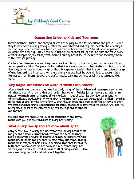 Supporting Grieving Kids and Teenagers