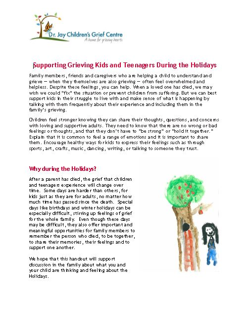 Supporting Grieving Kids and Teenagers During the Holidays
