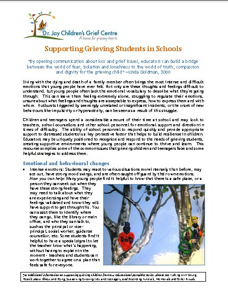 Supporting Grieving Students in Schools